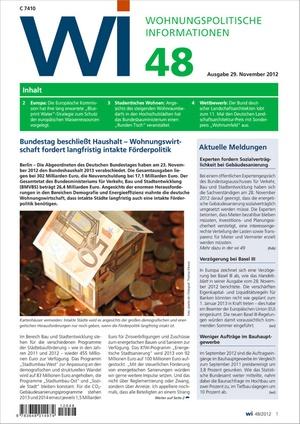 Wohnungspolitische Informationen Ausgabe 48/2012   Wohnungspolitische Information