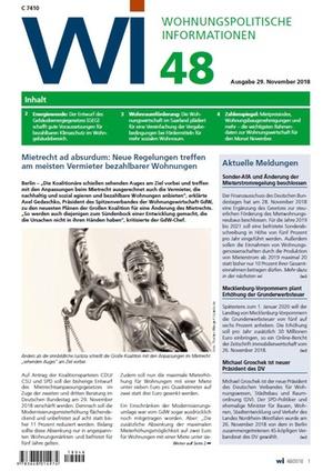 Wohnungspolitische Informationen 48/2018 gdw | Wohnungspolitische Information