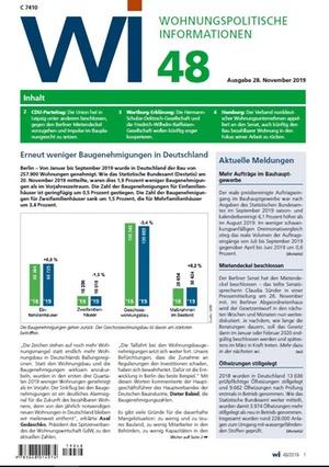 Wohnungspolitische Informationen 48/2019 gdw | Wohnungspolitische Information