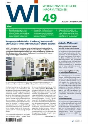 Wohnungspolitische Informationen Ausgabe 49/2012   Wohnungspolitische Information