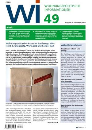 Wohnungspolitische Informationen 49/2018 gdw | Wohnungspolitische Information