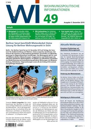 Wohnungspolitische Informationen 49/2019 gdw   Wohnungspolitische Information