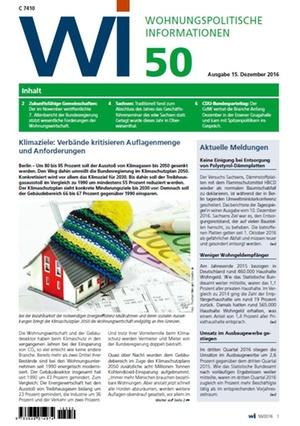 Wohnungspolitische Informationen 50/2016 gdw   Wohnungspolitische Information