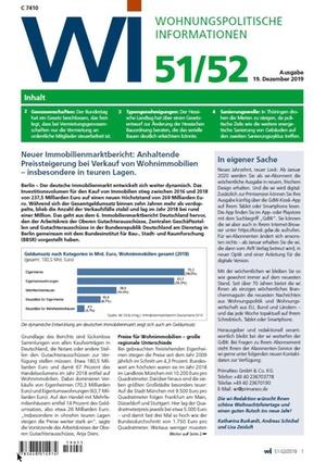 Wohnungspolitische Informationen 51+52/2019 gdw | Wohnungspolitische Information