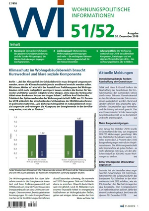 Wohnungspolitische Informationen 51+52/2018 gdw | Wohnungspolitische Information