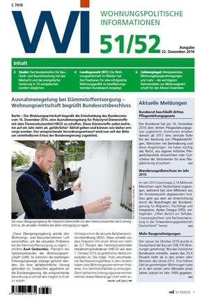 Wohnungspolitische Informationen 51+52/2016 gdw   Wohnungspolitische Information