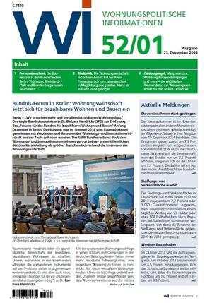 Wohnungspolitische Informationen Ausgabe 52/2015 gdw | Wohnungspolitische Information