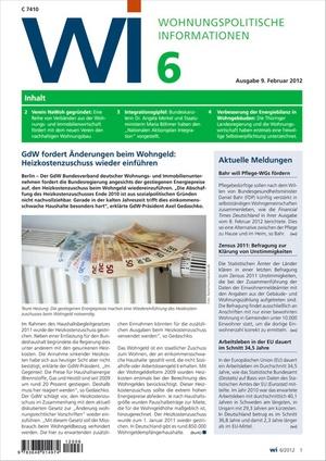 Wohnungspolitische Informationen Ausgabe 6/2012 | Wohnungspolitische Information