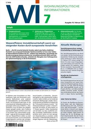 Wohnungspolitische Informationen Ausgabe 7/2012 | Wohnungspolitische Information