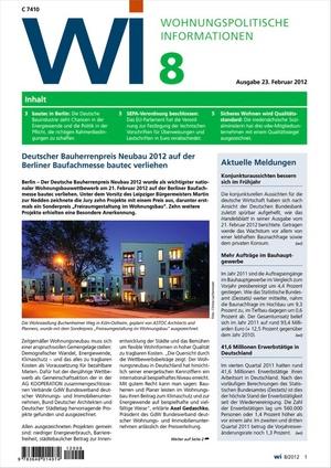 Wohnungspolitische Informationen Ausgabe 8/2012 | Wohnungspolitische Information