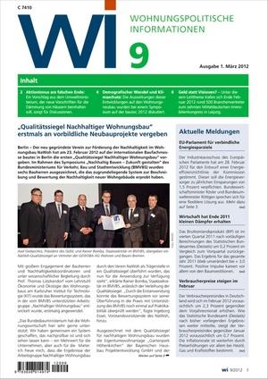 Wohnungspolitische Informationen Ausgabe 9/2012 | Wohnungspolitische Information