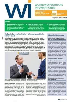 Wohnungspolitische Informationen Sonderausgabe ExpoReal 2019 | Wohnungspolitische Information