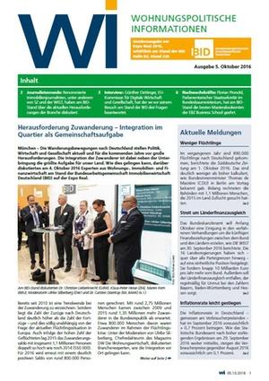 WI Sonderausgabe zur Expo Real 2016 Mittwoch | Wohnungspolitische Information