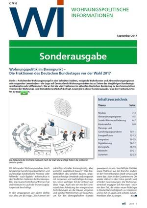 WI Sonderausgabe zur Bundestagswahl 2017 | Wohnungspolitische Information