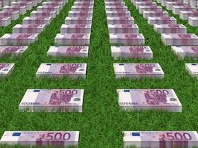 Wiese mit Geld Geldstapel Euro Euroscheine
