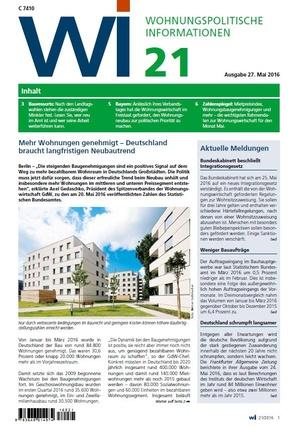 Wohnungspolitische Informationen 21/2016 GdW | Wohnungspolitische Information