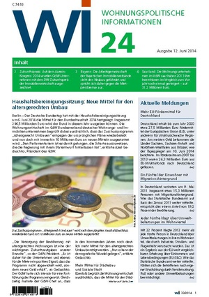 Wohnungspolitische Informationen 24/2014 | Wohnungspolitische Information