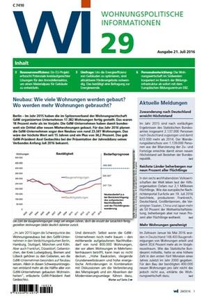 Wohnungspolitische Informationen 29/2016 gdw | Wohnungspolitische Information