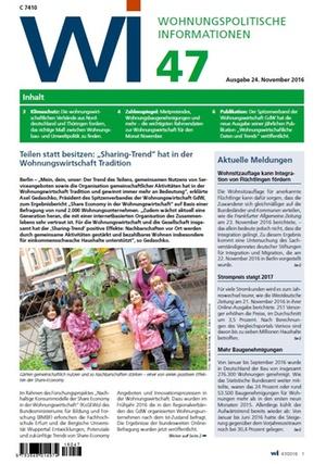 Wohnungspolitische Informationen 47/2016 gdw | Wohnungspolitische Information
