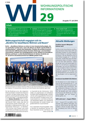 Wohnungspolitische Informationen Ausgabe 29/2014 | Wohnungspolitische Information