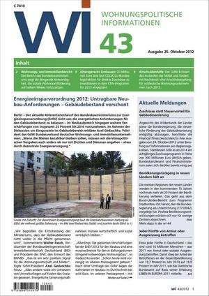 Wohnungspolitische Informationen Ausgabe 43/2012 | Wohnungspolitische Information