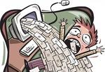 Zeichnung von Mann in E-Mail-Flut