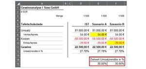 Excel 0365 Mithilfe der Zielwertsuche gegebene Werte ändern