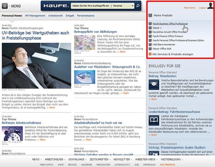 Haufe Relauncht Seine Themenportale Zugriff Auf Eigene Abo Produkte
